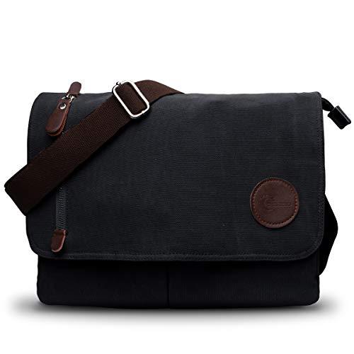 CHEREEKI Umhängetasche, Leinentasche Schultertasche Unisex Männer und Frauen Vintage Laptoptasche Aktentasche für die Arbeit Büro 13.3'' Laptop iPad Uni Reise (Schwarz)