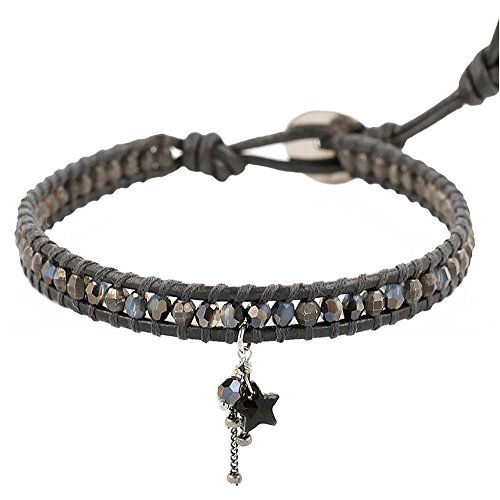 Chan Luu Single Wrap Bracelet with Star Charm (Grey)