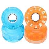 スケートボードホイール 4個セット ソフトウィール PU製 点滅タイプ 高反発 硬度 高弾性52mm(オレンジ)