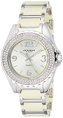 Akribos XXIV Reloj de Pulsera de Cristal de Las Mujeres de cerámica Esfera analógica
