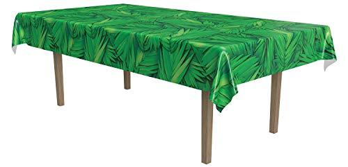 Beistle Print Tablecover Plastic Disposable Rectangular Tropical Palm Leaf Table Cover Hawaiian Luau Party Supplies Jungle Safari Tableware, 54' x 108', Green/Black