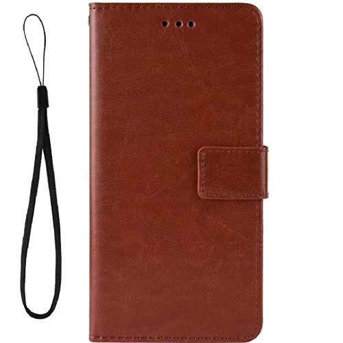 Funda para LG 2016 K10/K420 K430, color puro, ranuras para tarjetas de crédito, poliuretano termoplástico suave + piel sintética para LG K10, color marrón