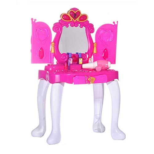 YBWEN Kids Play Tools Dresser Vanity Beauty Set Roze Prinses doen alsof spelen Dressing Tafel Top Set Met Make-up Spiegel Dressing Tafelset doen alsof spelen