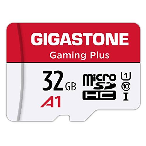Gigastone carte memoire micro SD HC 32 Go U1 avec mini étui et adaptateur SD. Vitesse de lecture allant jusqu'à 90 Mo/s. Carte haute vitesse Full HD Vidéo Nintendo Gopro Caméra Android
