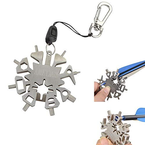 ZSHJG Outil Multifonction Flocon de Neige de Tir à l'arc 21 en 1 Outil de Réparation de Flèche de tir à l'arc Clé Multifonctionnelle Clé à Clé Portable Camping Multifonction Décapsuleur EDC Porte-clés