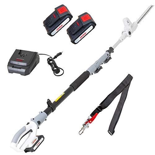 IKRA tijeras cortasetos telescópico a batería ICPH 2040, incl. 2x batería, cargador rápido y cinta de hombro