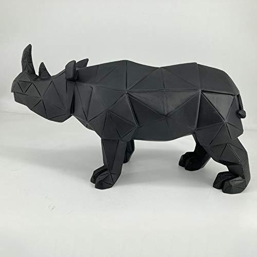 Estatuas Escultura Estatuillas,Negro Rinoceronte Geométrico Diseño Creativo Vintage Animal Figuras Nórdicas Arte Moderno para El Hogar TV Gabinete Sala De Estar Adorna La Decoración