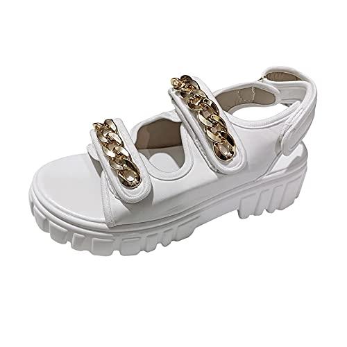 GANE Señoras Cadena de Metal Tacón Cuadrado Zapatos de Mujer de Gran...