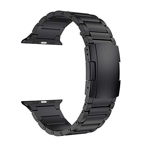 FANFAN 44MM 42MM Band, Titanium Metal Watch Strap Bracelet Black
