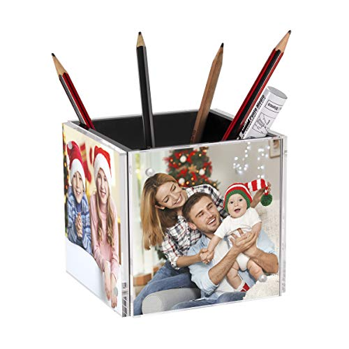 NIUBEE 4-Sided Photo Cube Gift 4x4 Inch Picture Frames with 360 Degree Rotatable Base, Clear Acrylic Desk Pencil Pen Holder Organizer for Home Office Desktop Supplies