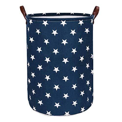 Funkprofi Wäschekorb Faltbar, Spielzeugtasche Wäschesammler Aufbewahrungskorb mit PU-Ledergriffen und Kordelzug-Verschluss, 48 x 36 cm, Wasserdichte Innenseite für Kinderzimmer (Blaue Sterne)