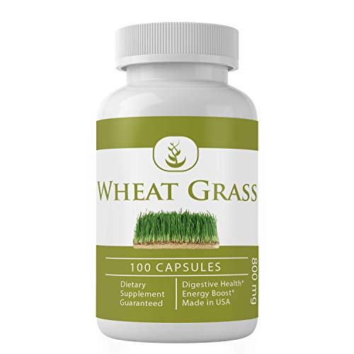Wheat Grass (100 Capsules, 800 mg Servings) 100% Pure, Green Superfood, Non-GMO, Raw Wheat Grass, Source of Chlorophyll
