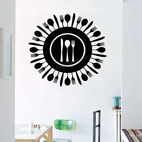 Zdklfm69 Wall Stickers Wall Decal Kitchen Art Knife Fork Spoon for Kitchen Dining Room Wall Decor Kitchen Design Decal Handmade 54x58cm