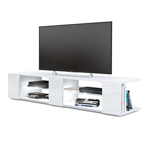 Mesa para TV Lowboard Movie V2, Cuerpo en Blanco Mate/Frentes en Blanco de Alto Brillo con iluminación LED en Blanco