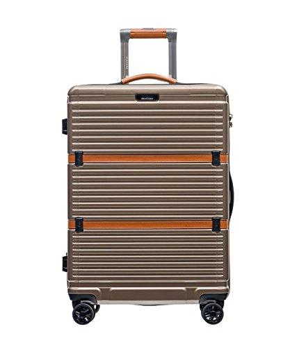 PUCCINI® Premium Hartschale Koffer Oxford 2018 aus Polycarbonat · TSA Zahlenschloss, Leder Namenschild, 4-Rollen Reisekoffer S/L/XL/Set (Gold (6), Mittelgroß)