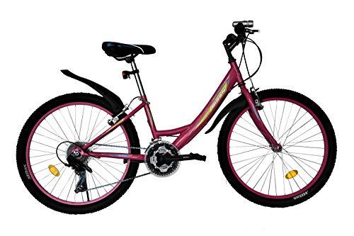 T 24 Zoll Kinderfahrrad Kinder Mädchen Fahrrad Mädchenfahrrad Mädchenrad Mountainbike MTB Bike Rad 21 Gang Beleuchtung STVO 4100 PINK