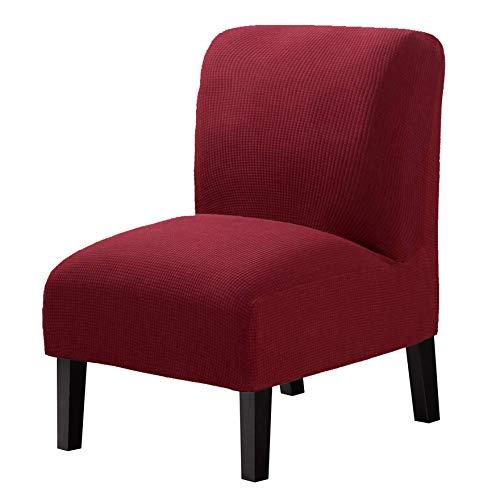 WOMACO - Funda elástica para silla sin reposabrazos para silla grande, extraíble, para casa, hotel, color rojo vino, 1 unidad