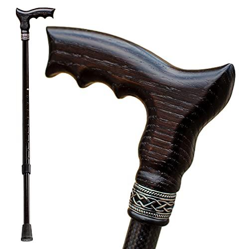 Carbon Adjustable Walking Cane for Men and Women - Ergonomic Wooden Handle & Lightweight Carbon Fiber Shaft