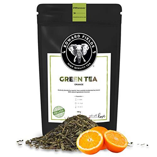 Edward Fields Tea ® - Té verde orgánico a granel con Naranja. Té bio recolectado a mano con ingredientes y aromas naturales, 100 gramos, China