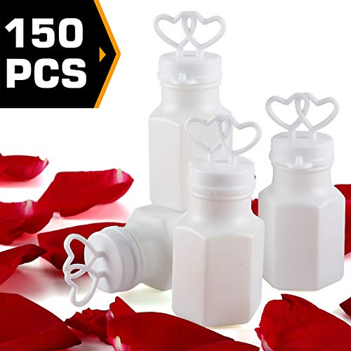 150 pack Mini White Double Heart Bubble Bottle (pre-filled) - Party Favor for Wedding, Anniversary, Engagement, Bridal, Celebration, Valentine's Day, Family Reunion, and Gift for Couple Boy Girl