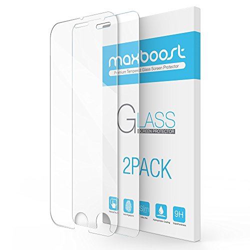 iPhone 8 Plus / 7 Plus Screen Protector, Maxboost 2 Packs Tempered Glass Screen Protector for Apple iPhone 8 Plus, 7 Plus, 6 Plus,6s Plus [3D Touch Compatible] 0.2mm Screen Protection Case Fit- Clear