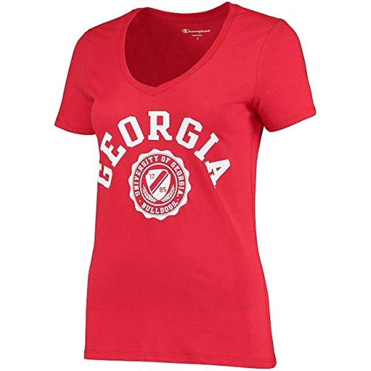 静かな致死治世Champion Champion Georgia Bulldogs Women's Red College Seal V-Neck T-Shirt スポーツ用品 【並行輸入品】