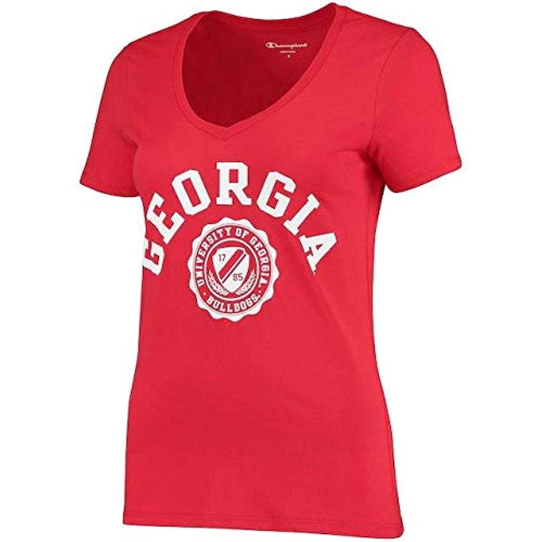 暗殺戦術恐ろしいChampion Champion Georgia Bulldogs Women's Red College Seal V-Neck T-Shirt スポーツ用品 【並行輸入品】