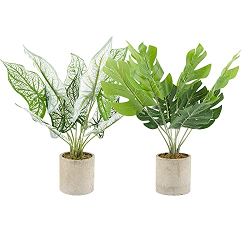 VINFUTUR 2pcs Plantas Artificiales Monstera con Maceta Plant