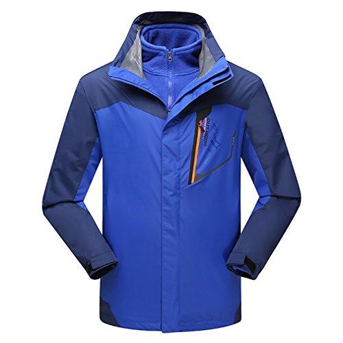 emansmoer Homme 3 en 1 Coupe-Vent Imperméable Outdoor Sport Veste de Randonnée Escalade Manteau avec Veste Polaire (XXXX-Large, Bleu)