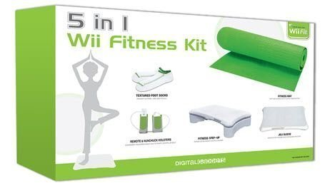 5-in-1 Wii Fitness Kit Bundle: Includes Step-up- Holsters-socks- Silicone- Sleeve- And Yoga Mat