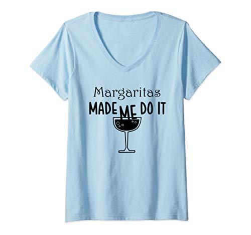 Mujer Margaritas Me hizo hacerlo Divertido Alcohol Beber Hielo Sal Camiseta Cuello V