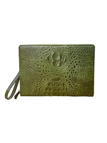 Auténtico cocodrilo cocodrilo piel de cuero hombres y mujeres bolso de embrague monedero cuero carteras pulsera con 1 cremallera bolso negocios cremallera
