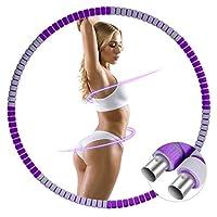 GIEADUN Hula Hoop Reifen für Erwachsene, Abnehmbarer Hoola Hoop Reifen von 1,2 bis 3,2kg für schmerzempfindliche und Profis, hullahub Reifen für Abnehmen, Fitness, Massage (Dunkel lila/grau)