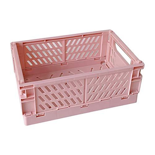 HUGUWEDING - Caja de almacenamiento plegable de plástico, cesta de cosméticos de utilidad, soporte de escritorio para uso en el hogar, gran valor