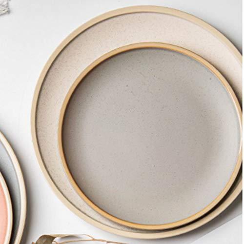 Porzellan Tellerset Speiseteller Flachteller Dessertteller Kuchenteller Teller,2Tlg:8inch/10inch,Beige