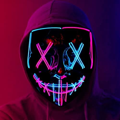 WR WPAIER LED Purge Maske, Halloween LED Mask Horror, Mask, LED Mask mit 3 Blitzmodi für Party Halloween Fasching Karneval Kostüm Cosplay Dekoration (Blau Rosa)