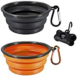 MOGOCO 2 Pack Portable Collapsible Dog Bowl,Foldable Travel Bowl Dish for Small Pet Dog Cat Food Water Feeding,Including Black Dog Poop Bag Holder Dispenser (Small,Black and Orange)