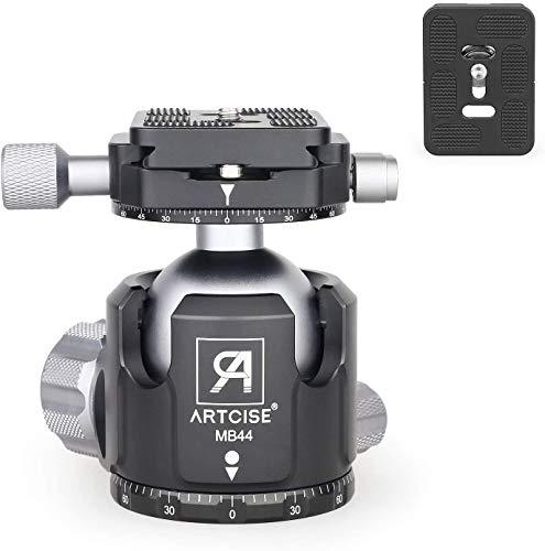 Low Profile Stativ Kugelkopf, ARTCISE MB44 Ganzmetall CNC Doppelpanorama Kugelkopf Kamerahalter 44MM Kugeldurchmesser mit Zwei 1/4