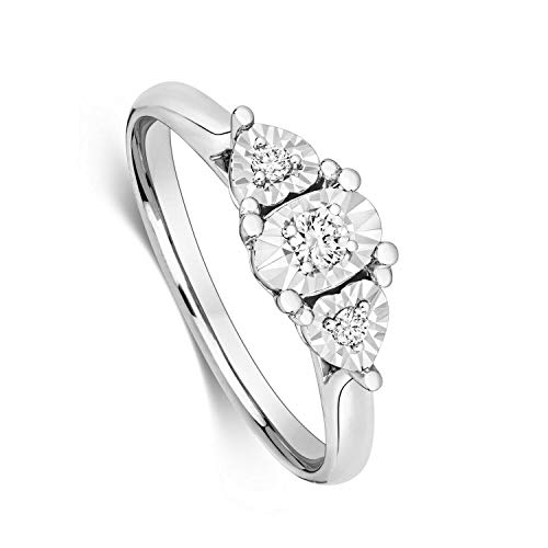Diamond Heart Trilogy Ring White Gold Illusion Set Certificate Sizes H-Z - Size: S