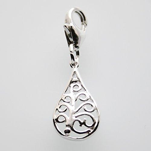 Plata 925 lovely diseño de filigrana de flores para pulsera ideal para pulsera o collar con colgante en forma de la marca