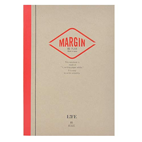 Japanese Notebook, Exceptional Paper, Great for Fountain Pens, B5, Red, Plain