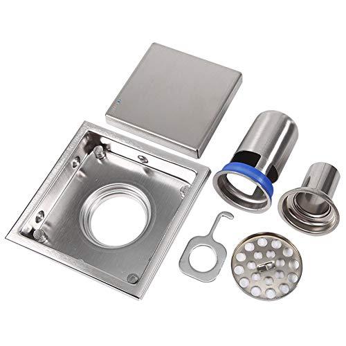 GOTOTOP Abfluss Sieb Quadratische Fliesen Einsatz Edelstahl Quadrat Badezimmer Dusche Bodenzubehör WC Küche (4,33 x 4,33 Zoll)