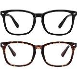 MEETSUN Blue Light Blocking Glasses, Anti Eye Strain Headache (Sleep Better),Computer Reading Glasses UV400 Transparent Lens (Black + Tortoise Shell Frame / 2 PACK, 53)