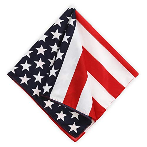 American Flag Bandana for Men & Women - Large Handkerchief USA Bandanas Headband - Cowboy Head Wrap Scarf - 21 x 21