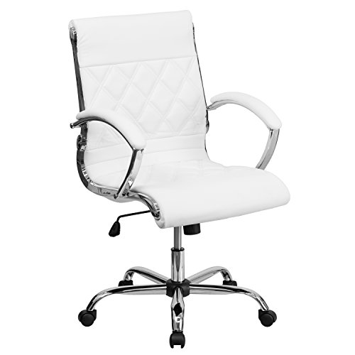 Flash Furniture Mid-Back Designer White LeatherSoft Executive Swivel Office Chair with Chrome Base and Arms