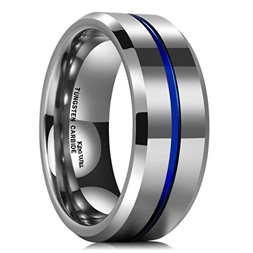 King Will Loop Thin Blue Groove 8mm High Polish Tungsten Carbide Wedding Band Engagement Ring for Men Comfort Fit