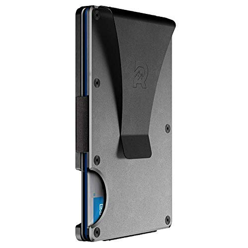 The Ridge Slim Minimalist Front Pocket RFID Blocking Metal Wallets for Men with Money Clip...