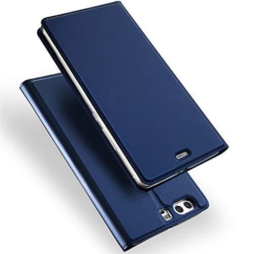 Verco Handyhülle für P10, Premium Handy Flip Cover für Huawei P10 Hülle [integr. Magnet] Book Hülle PU Leder Tasche, Blau