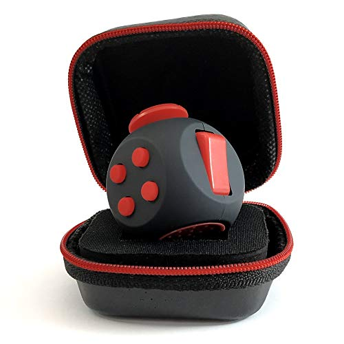 PILPOC theFube Fidget Cube - Premium Quality Fidget Cube Ball with Exclusive Protective Case, Stress Relief Toy (Black & Red)