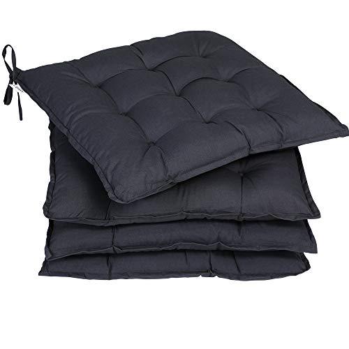 Deuba 4X cojínes Cozy Antracita para sillas almohadones Interior y Exterior Asiento con Cintas de sujetación 41x41cm